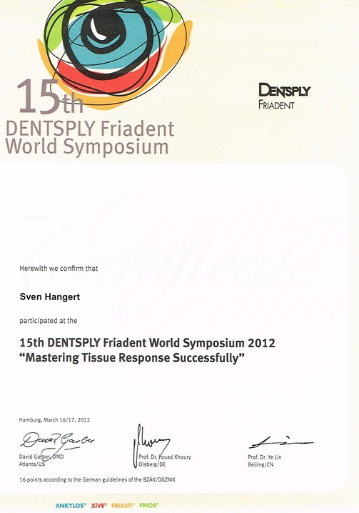 Teilnahmezertifikat 15th Dentsply Friadent World Symposium
