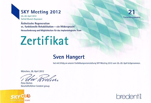 Zertifikat SKY Meeting 2012